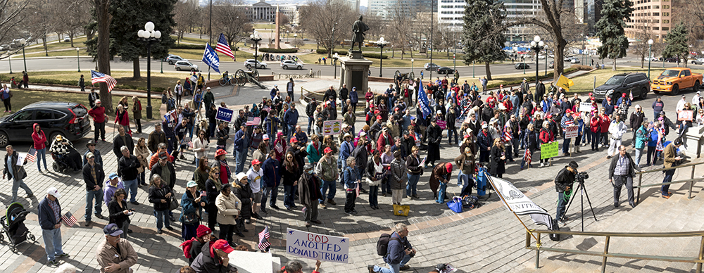 A rally in support of President Trump, Feb. 27, 2017. (Kevin J. Beaty/Denverite)  copolitics; politics; trump; rally; protest; capitol; denver; colorado; denverite; kevinjbeaty