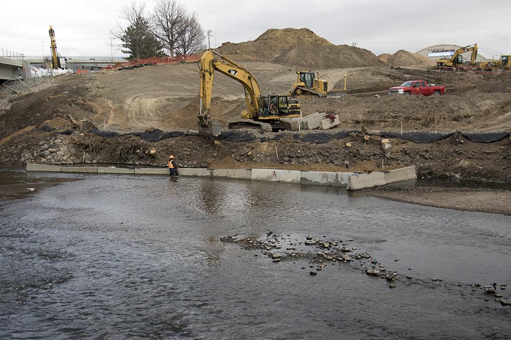 Construction at Globeville Landing Park in February 2017. (Kevin J. Beaty/Denverite)  rino; denver; colorado; kevinjbeaty; denverite; construction; development; globeville;
