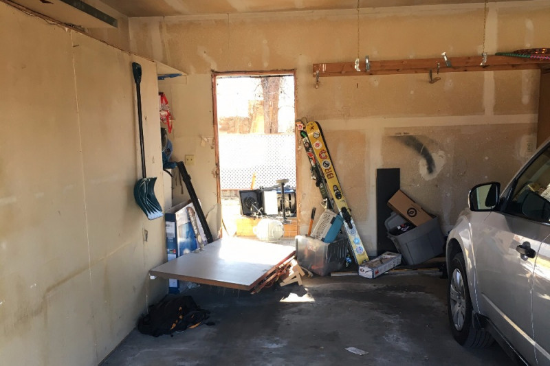 Damage inside Veronica Lamaak's garage after two men broke in on Super Bowl Sunday. (Courtesy of Lamaak)