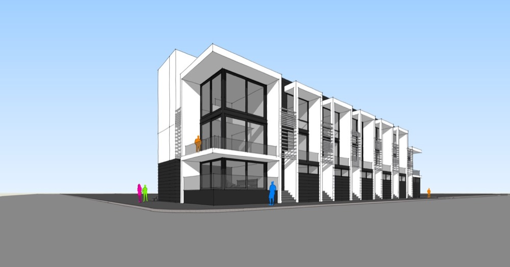 A rendering of the townhomes planned for 2190 S. Delaware St. (Courtesy of Cazna Development)