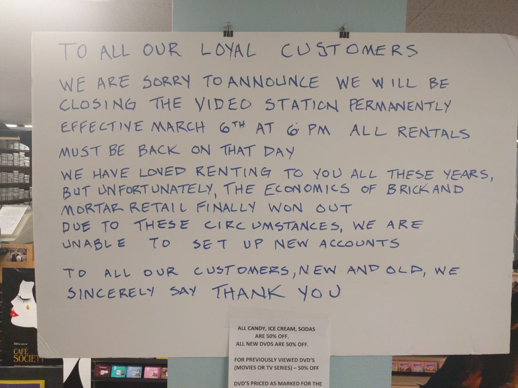 A sign posted in the window of The Video Station in Boulder. (Courtesy Marty Mapes)