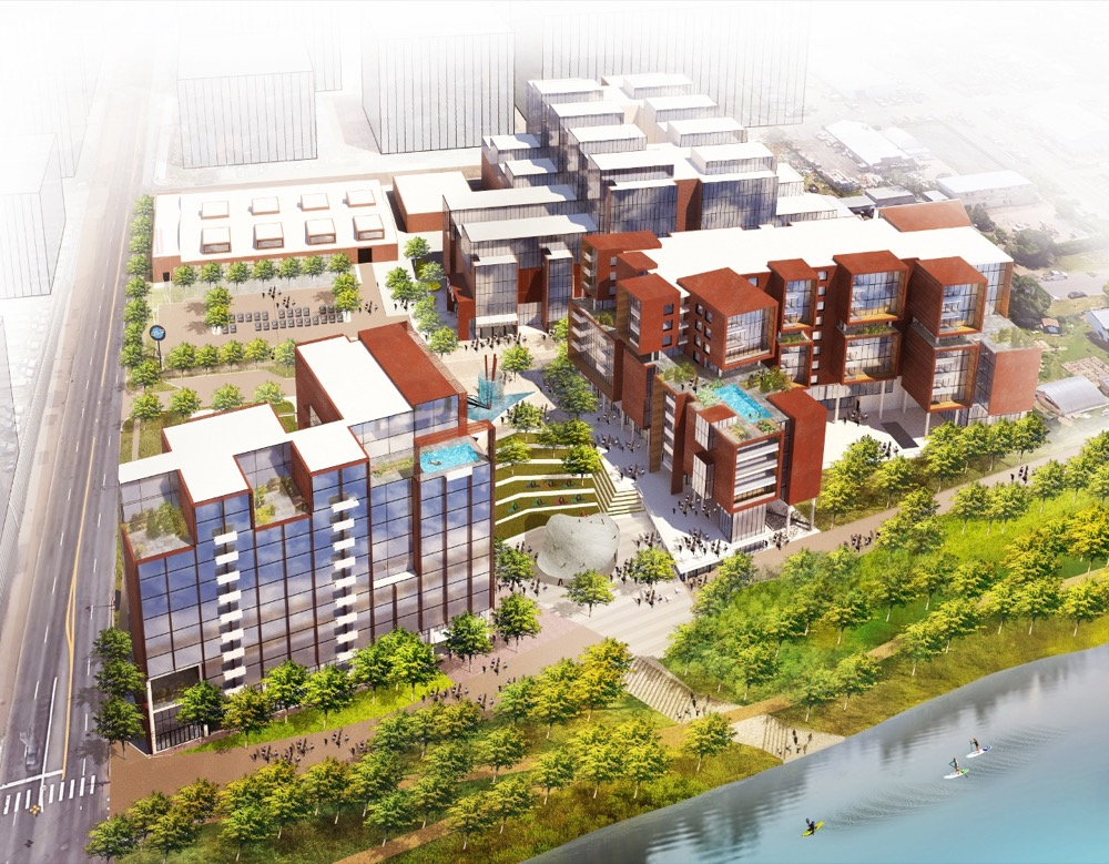 An aerial conceptual rendering of Hurley Place along the South Platte River. (Courtesy Bernard Hurley)