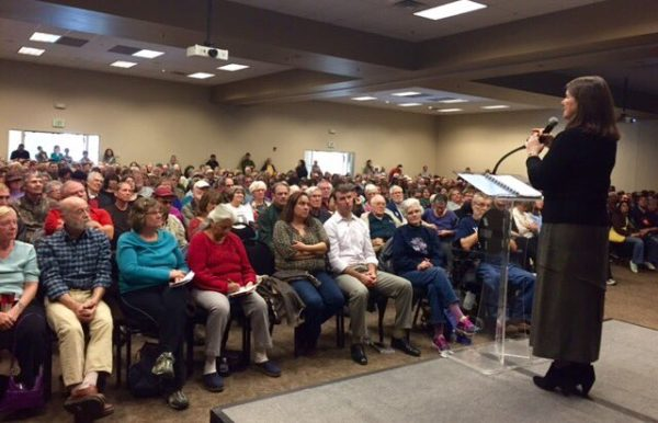 Rep. Diana DeGette addresses constituents at a town hall meeting Feb. 4, 2017. (Courtesy of DeGette)