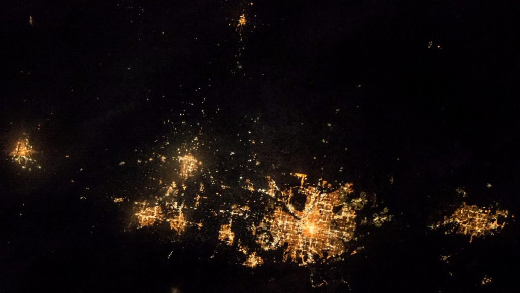 From left, Cheyenne, Fort Collins, Greeley, Boulder, Denver and Colorado Springs. (Shane Kimbrough/NASA)