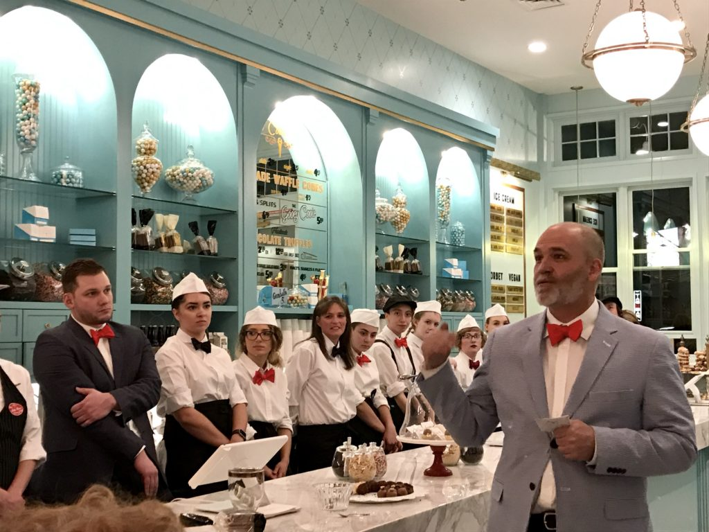 Owner Paul Tamburello speaks at the soft opening of Sweet Cooie's, 3506 E. 12th Ave. (Ashley Dean/Denverite)