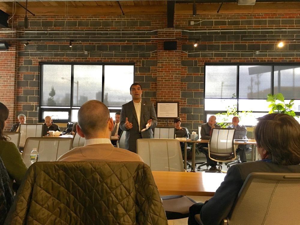 Erik Soliván speaks before the Denver Commission on Homelessness on Feb. 27, 2017. (Andrew Kenney/Denverite)