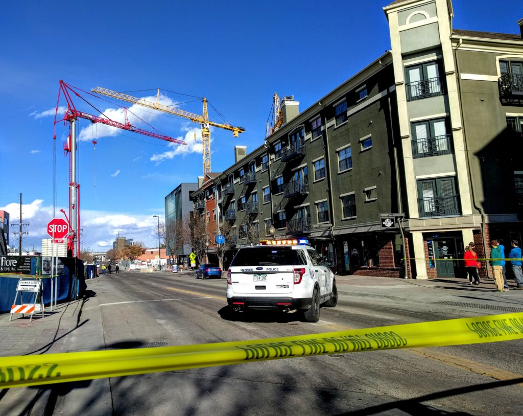 The area near 17th and Platte streets is shutdown after a bomb threat was reported nearby. Feb. 25, 2017. (Kevin J. Beaty/Denverite)