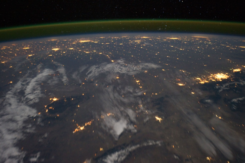 "A view of the Great Plains cities, labeled as including ""Denver,"" from the International Space Station in 2011. (ISS/NASA)"