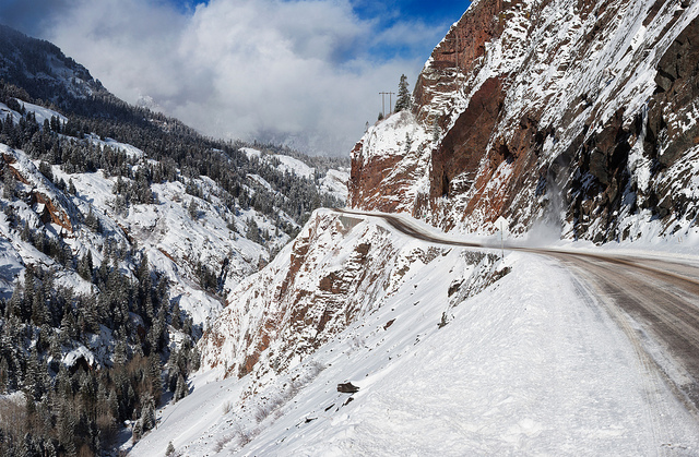 Million Dollar Highway in winter. (Alan Stark/Flickr)