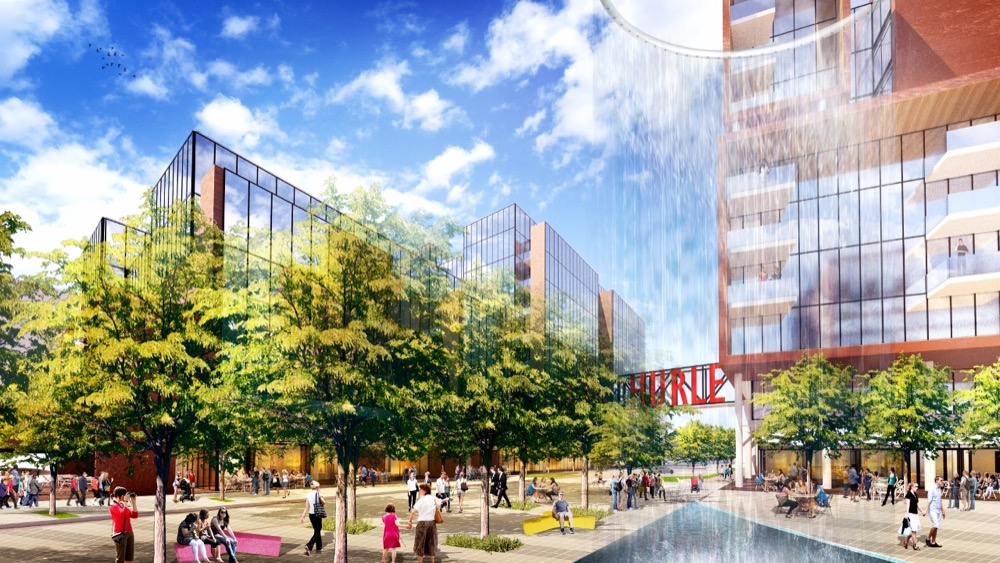 A rendering of Hurley Place along the South Platte River. (Courtesy Bernard Hurley)