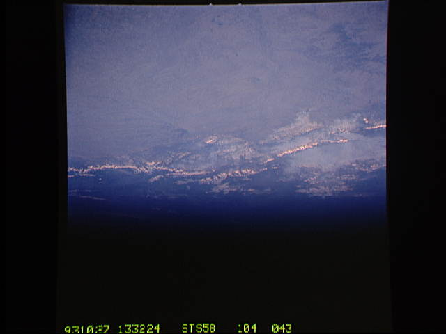 A view of the greater Denver region from one of the space shuttles in 1993.  (STS/NASA)