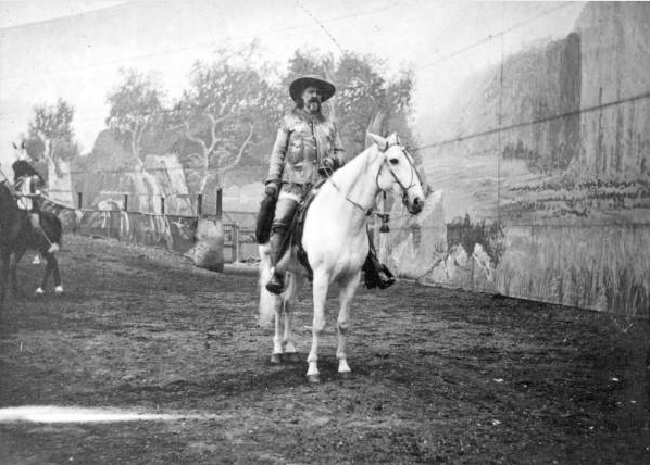Buffalo Bill Cody on horseback in a show in England. (Denver Public Library/Western History Collection/NS-495)