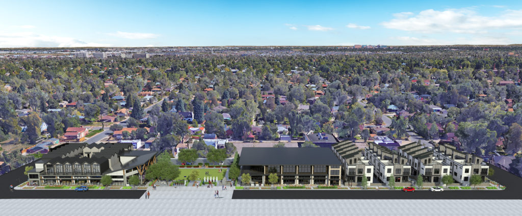 The multi-use Park Hill Commons Project proposed for Fairfax Street between 28th and 29th streets. (HM Capital Group)