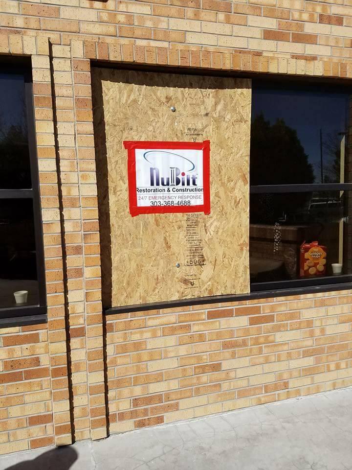A broken window at the Colorado Muslim Society mosque on Parker Road. (Courtesy Colorado Muslim Society)