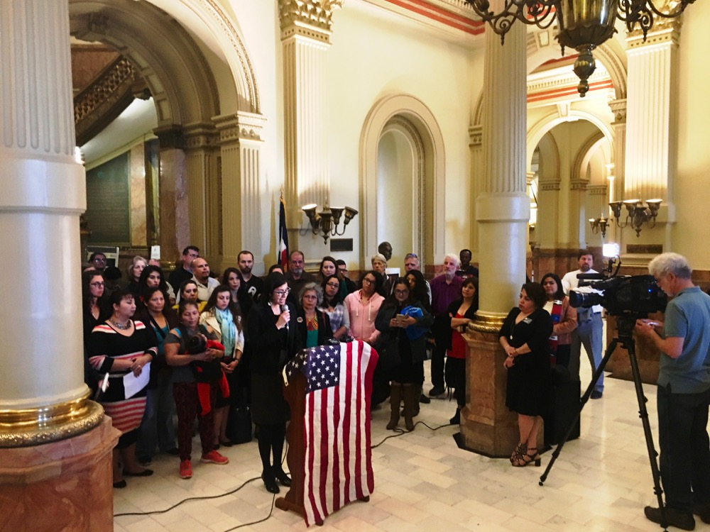Karla G. Gonzales Garcia of the Colorado Organization for Latina Opportunity and Reproductive Rights speaks at the Colorado State Capitol on Feb. 22, 2017. (Andrew Kenney/Denverite)