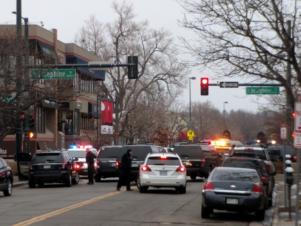 Denver police shut down Josephine and Third in Cherry Creek as they search for a suspect. (Kevin J. Beaty/Denverite)
