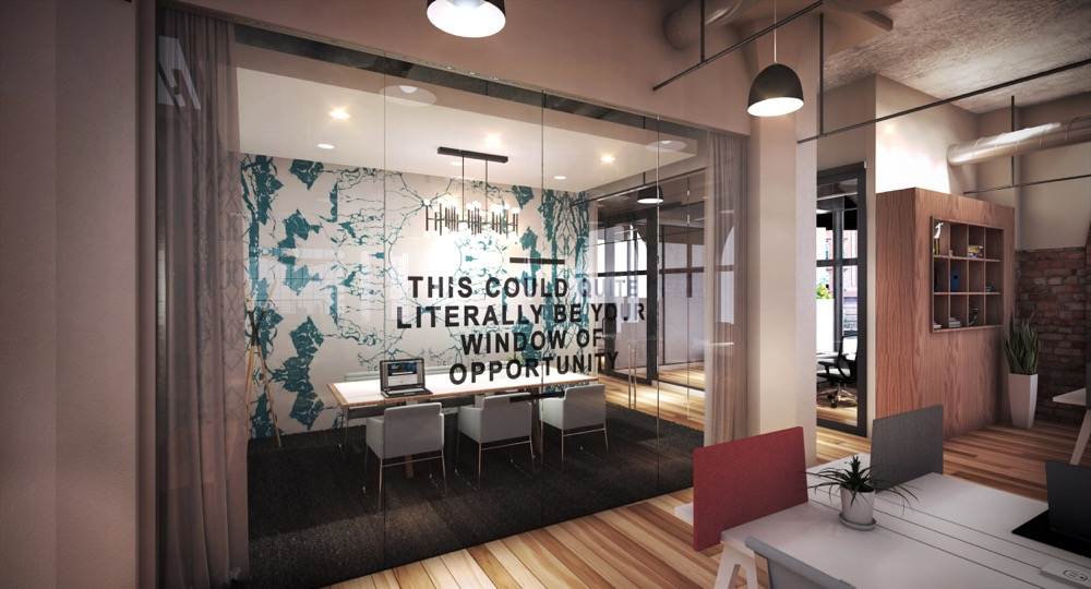 A meeting room in the new Spaces Denver – Ballpark coworking office. (Courtesy of Spaces)