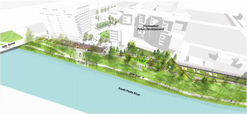 An illustration of potential plans for the RiNo Promenade. (City of Denver)
