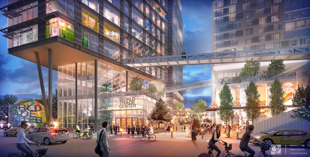 A rendering of the proposed World Trade Center project in RiNo. (Courtesy OZ Architecture)