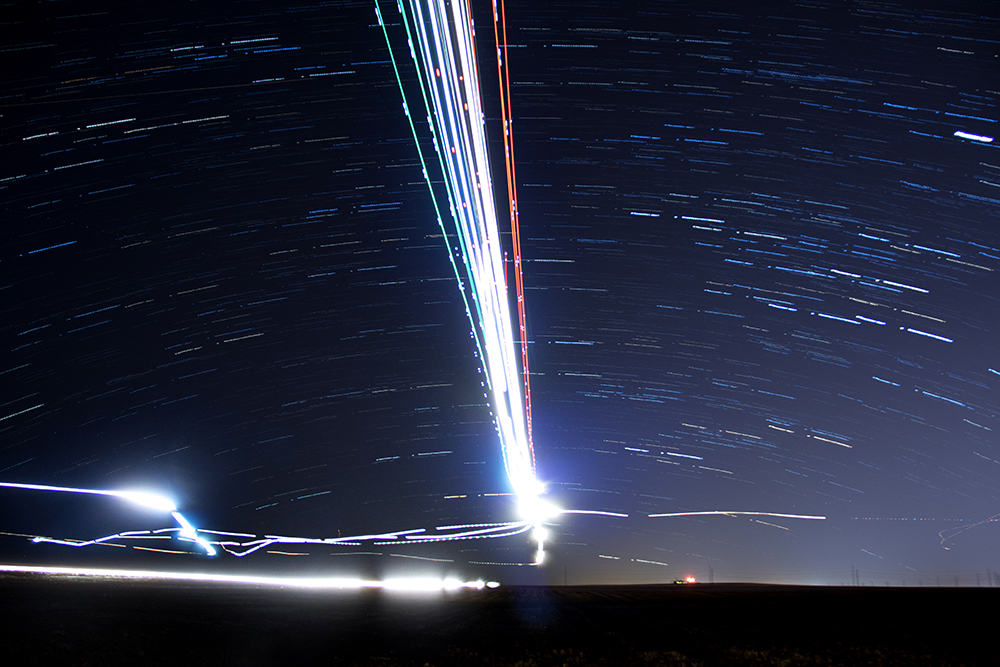 Flight paths around DIA. (Kevin J. Beaty/Denverite)  dia; airplane; flight; kevinjbeaty; denver; denverite; colorado; nightscape; stars;