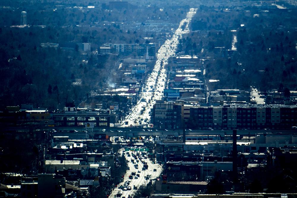 Broadway seen from Luis Benitez's office in the state Outdoor Recreation Industry Office. (Kevin J. Beaty/Denverite)  denver; colorado; kevinjbeaty; denverite; skyline; cityscape;