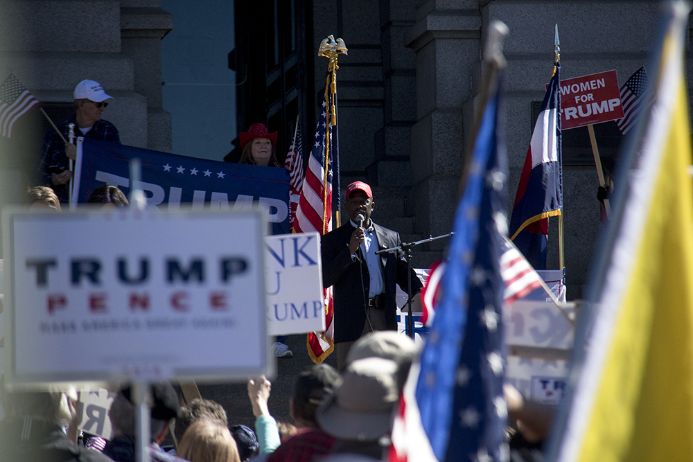 Casper Stockham speaks. A pro-Trump rally that was opposed by a group of anarchist protesters, Mar. 4, 2017. (Kevin J. Beaty/Denverite)  protest; rally; copolitics; kevinjbeaty; denver; colorado; denverite; capitol hill;