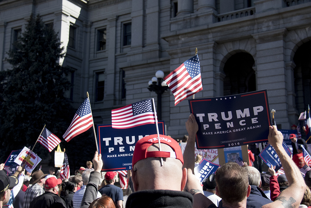 A pro-Trump rally that was opposed by a group of anarchist protesters, Mar. 4, 2017. (Kevin J. Beaty/Denverite)  protest; rally; copolitics; kevinjbeaty; denver; colorado; denverite; capitol hill;