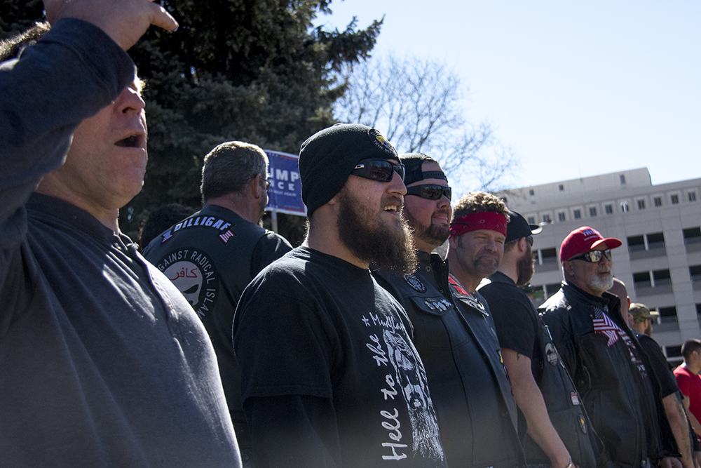Bikers Against Radical Islam shout down to anarchists below. A pro-Trump rally that was opposed by a group of anarchist protesters, Mar. 4, 2017. (Kevin J. Beaty/Denverite)  protest; rally; copolitics; kevinjbeaty; denver; colorado; denverite; capitol hill;