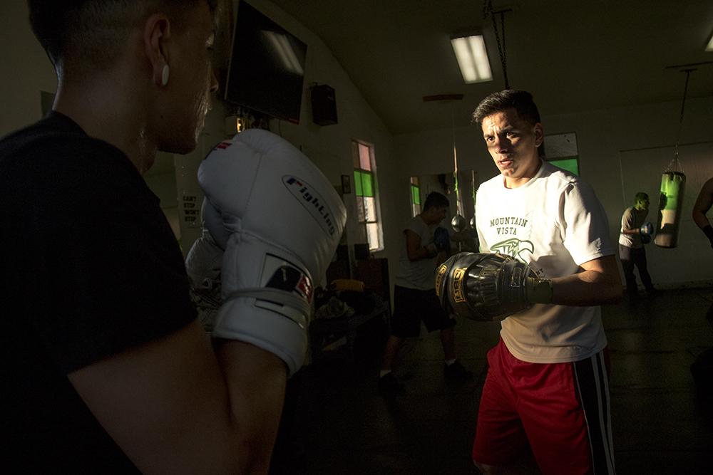 Jesus (left) and Eddie Vasquez train together at the Denver Police Brotherhood gym, Mar. 7, 2017. (Kevin J. Beaty/Denverite)  boxing; sports; denver police brotherhood; kevinjbeaty; denvertie; denver; colorado;