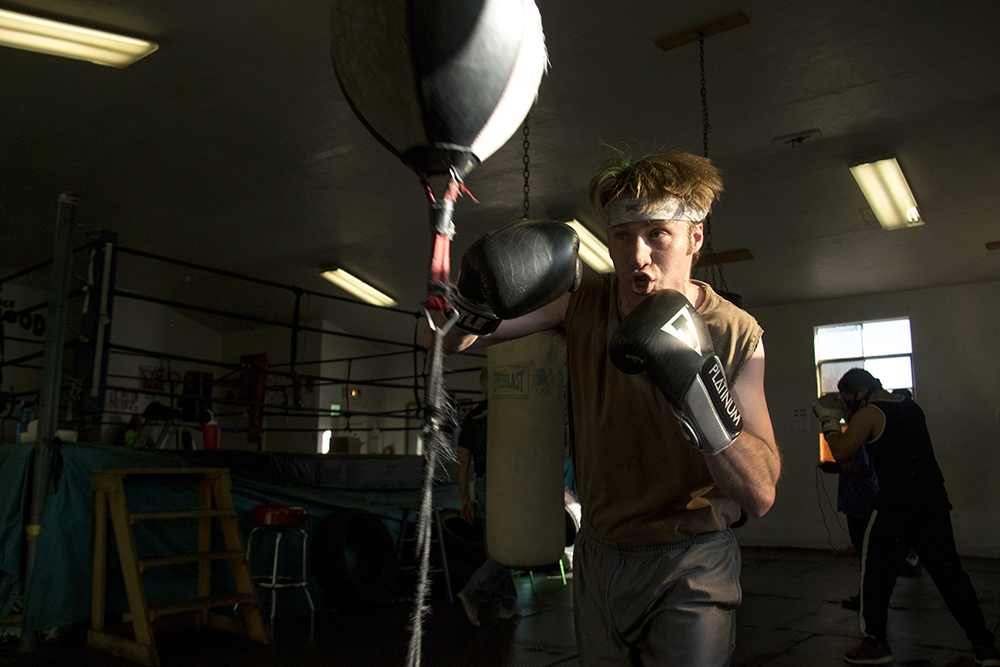 Nathan Langmeier, a fighter, ref and boxing fanatic trains at the Denver Police Brotherhood gym, Mar. 7, 2017. (Kevin J. Beaty/Denverite)  boxing; sports; denver police brotherhood; kevinjbeaty; denvertie; denver; colorado;