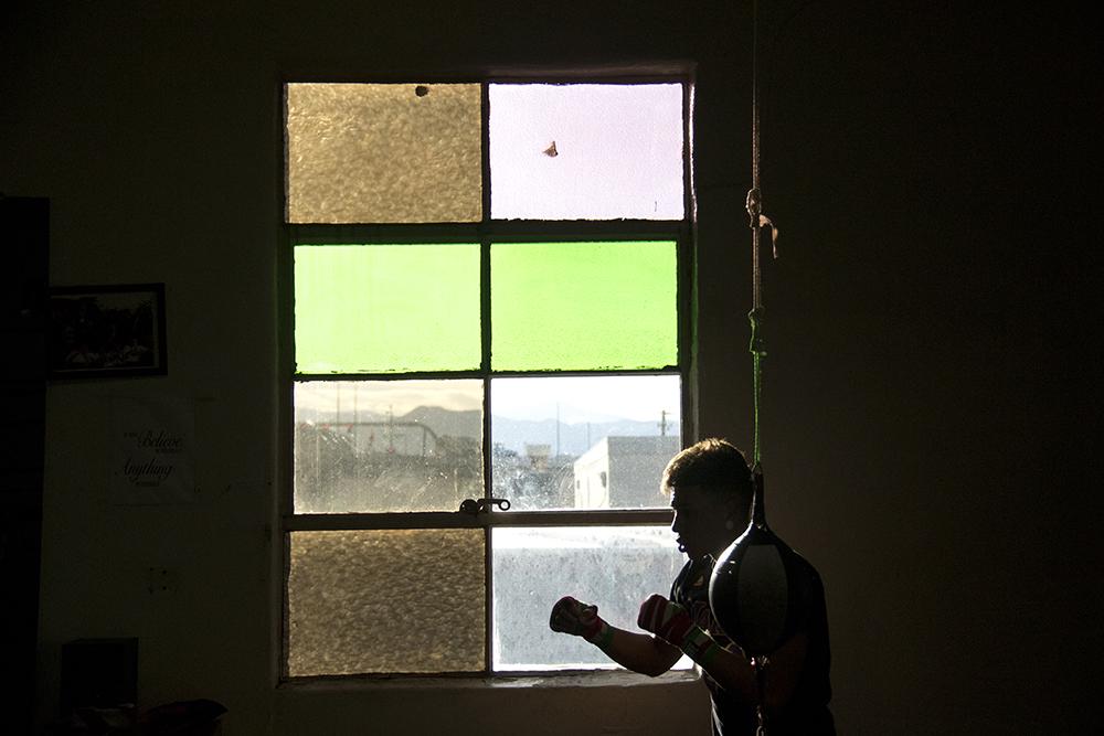 Jesus Vasquez punches air at the Denver Police Brotherhood gym, Mar. 7, 2017. (Kevin J. Beaty/Denverite)  boxing; sports; denver police brotherhood; kevinjbeaty; denvertie; denver; colorado;