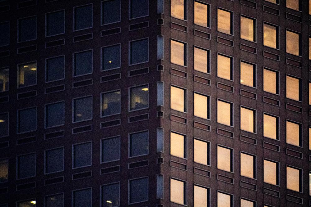 The Wells Fargo Center under evening light. (Kevin J. Beaty/Denverite)  denver; colorado; kevinjbeaty; denverite; north capitol hill; cowx; weather; sunset; skyline; cityscape;
