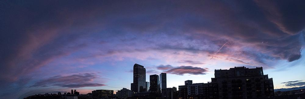 Sunset over the city. (Kevin J. Beaty/Denverite)  denver; colorado; kevinjbeaty; denverite; north capitol hill; cowx; weather; sunset; skyline; cityscape;