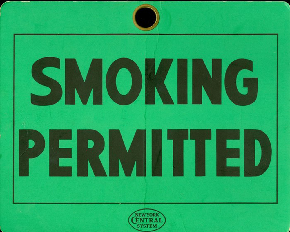 New York Central Smoking Permitted Placard. (Courtesy Colorado Railroad Museum)