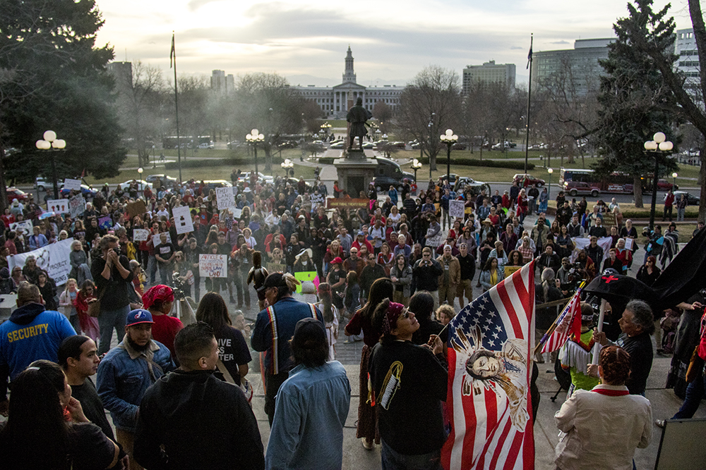 A rally against the Dakota Access Pipeline, March 10, 2017. (Kevin J. Beaty/Denverite)  march; protest; rally; sunken gardens; capitol; indigenous; native american; nodapl; dakota access pipeline; standing rock; kevinjbeaty; denver; denverite; colorado;