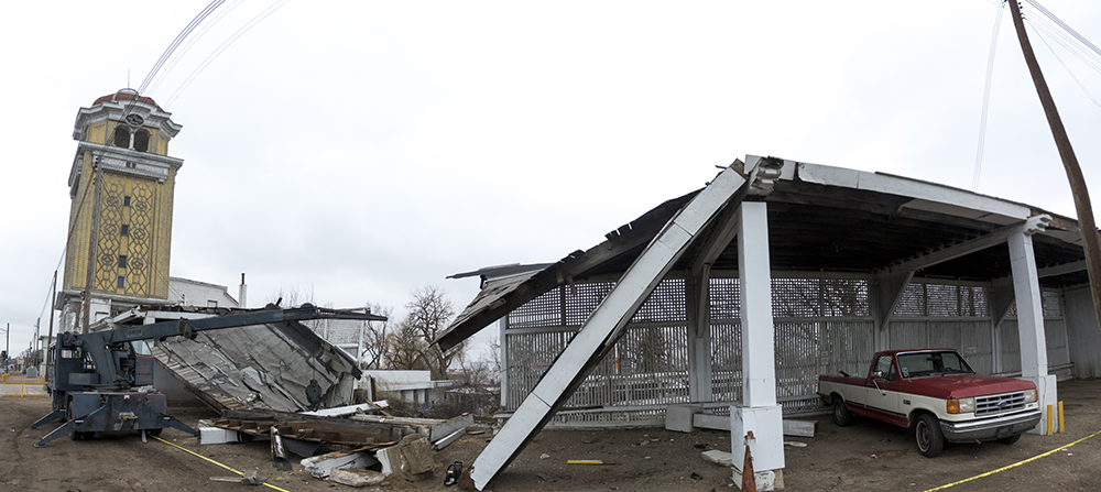 Lakeside Amusement Park after a car ran into its parking structure, March 11, 2017. (Kevin J. Beaty/Denverite)lakeside amusement park; denver; colorado; kevinjbeaty; denverite;