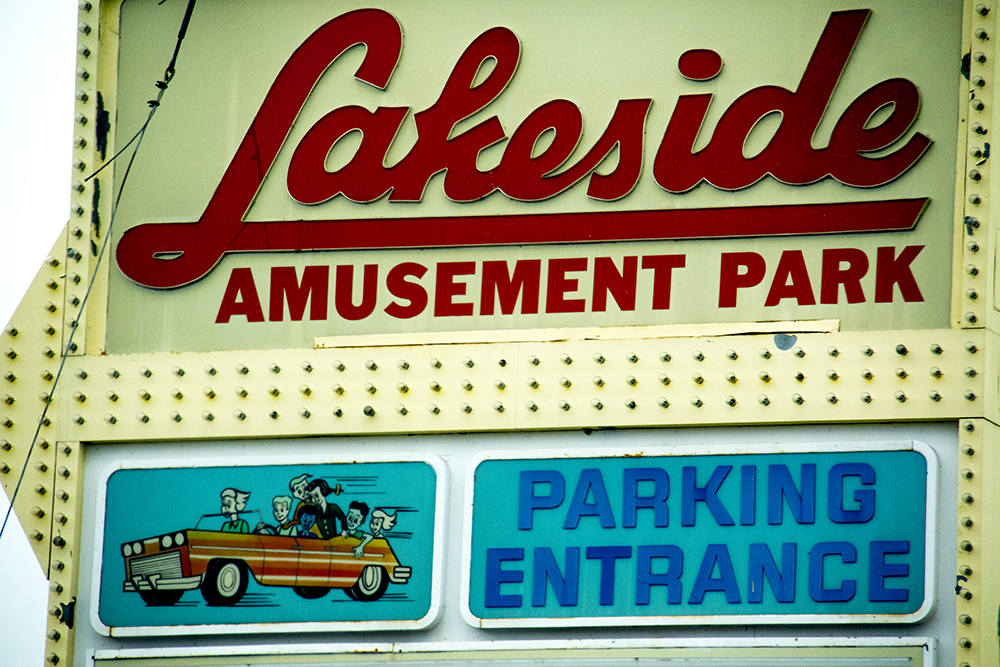 Lakeside Amusement Park's vintage parking sign, March 11, 2017. (Kevin J. Beaty/Denverite)  lakeside amusement park; denver; colorado; kevinjbeaty; denverite;