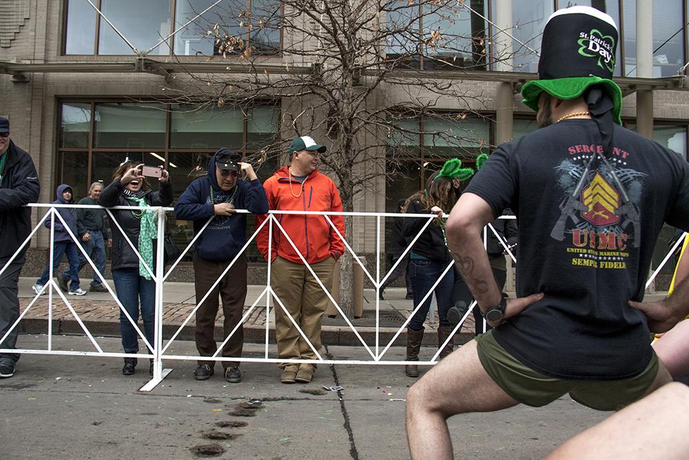 The Irreverant Warriors process belligerently down 17th Street. St. Patrick's Day celebration, March 11, 2017. (Kevin J. Beaty/Denverite)  st. patricks day; union station; kevinjbeaty; denver; colorado; denverite;