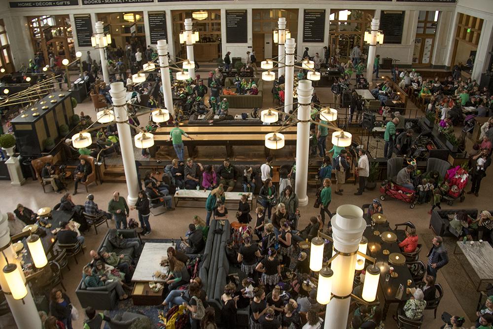 Inside Union Station during the St. Patrick's Day celebration, March 11, 2017. (Kevin J. Beaty/Denverite)