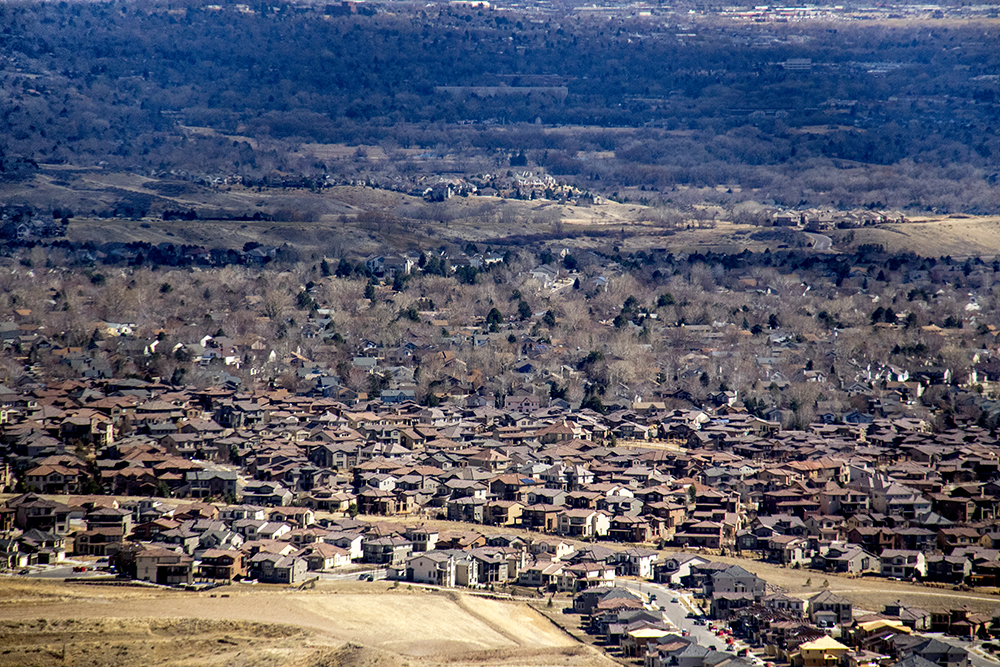 Little boxes on the hillside, and yes I do believe that is ticky tacky. (Kevin J. Beaty/Denverite)  residential real estate; houses; suburbs; lakewood; kevinjbeaty; denver; denverite; colorado;