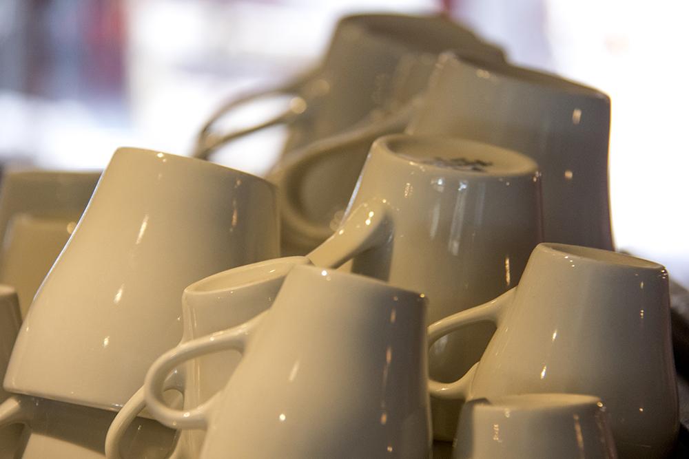 Coffee cups at La Belle Rosette. (Kevin J. Beaty/Denverite)  university of denver; du; kevinjbeaty; denverite; denver; colorado; coffee; food;