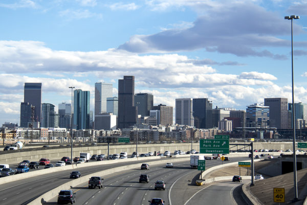 I-25 at rush hour, March 15, 2017. (Kevin J. Beaty/Denverite)  denver; colorado; denverite; kevinjbeaty; i25; I-25; highway; traffic; skyline; cityscape