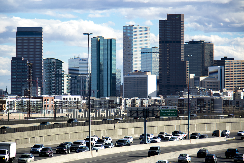 I-25 at rush hour, March 15, 2017. (Kevin J. Beaty/Denverite)  denver; colorado; denverite; kevinjbeaty; i25; I-25; highway; traffic; skyline; cityscape