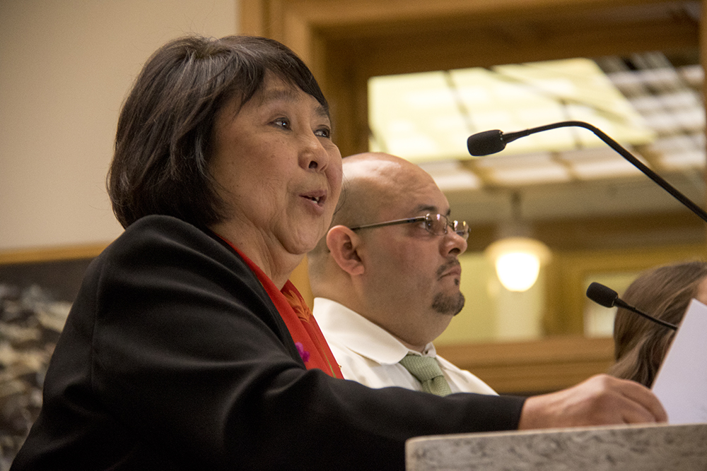 Jo Ann Fujioka and District 31 Rep. Joe Salazar at a House Judiciary Committee hearing for the so-called Ralph Carr Freedom Defense Act, March 16, 2017. (Kevin J. Beaty/Denverite)  capitol; joe salazar; Ralph Carr Freedom Defense Act; copolitics;  kevinjbeaty; denver; denverite; colorado;