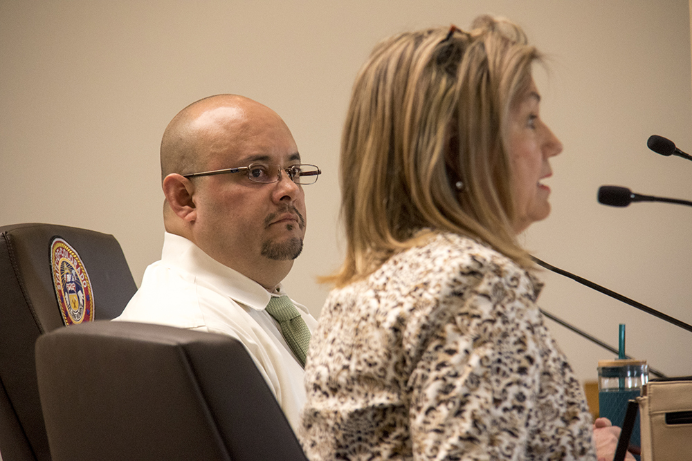 Charlene Hardcastle speaks at a House Judiciary Committee hearing for the so-called Ralph Carr Freedom Defense Act, March 16, 2017. District 31 Rep. Joe Salazar sits at the table with her. (Kevin J. Beaty/Denverite)