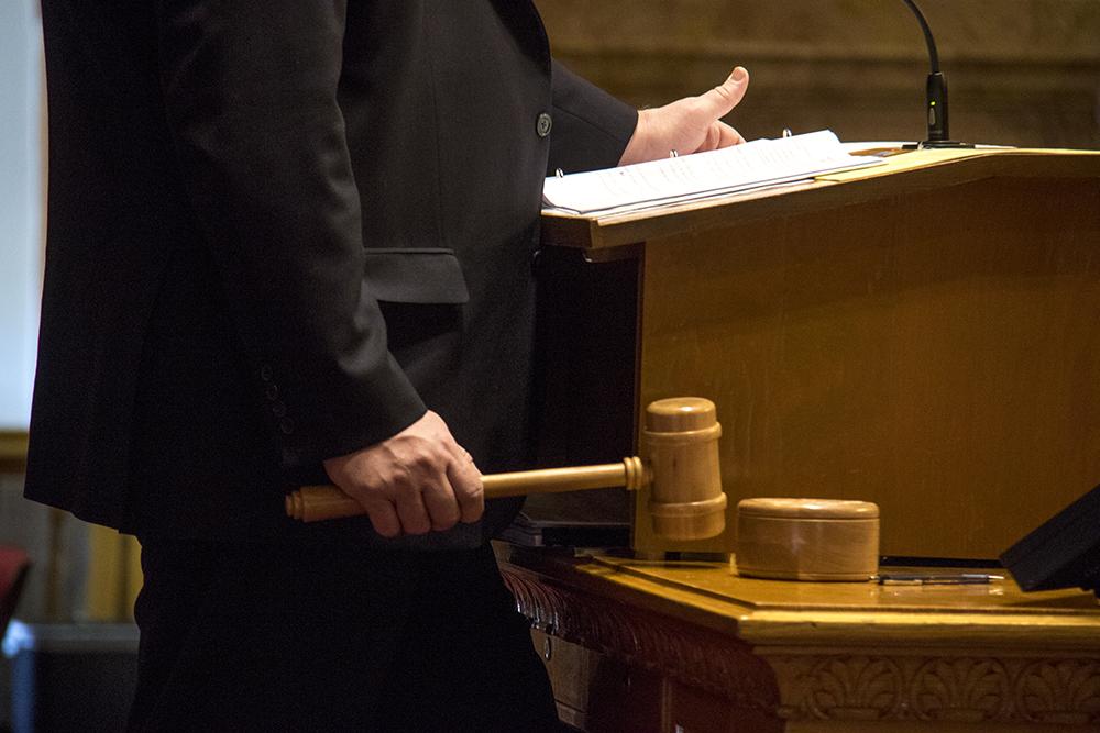The Colorado Senate President Kevin Grantham on the gavel, March 15, 2017. (Kevin J. Beaty/Denverite)  capitol; copolitics; government; kevinjbeaty; denver; denverite; colorado; senate