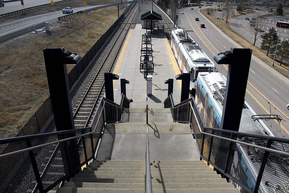 RTD trains at the County Line station. (Kevin J. Beaty/Denverite)  transportation; transit; kevinjbeaty; denver; colorado; denverite; centennial; rtd; train; light rail