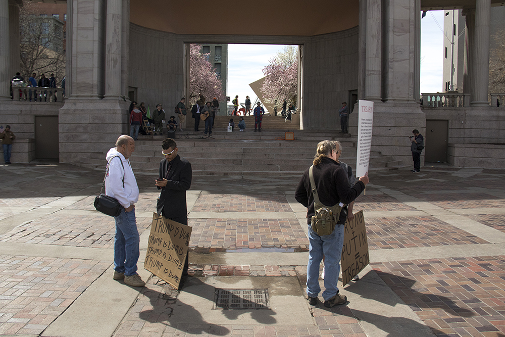 """The """"Impeach Trump Now"""" rally was sparsely populated, March 25, 2017. (Kevin J. Beaty/Denverite)  protest; rally; kevinjbeaty; denverite; denver; colorado; civic center park; copolitics;"""