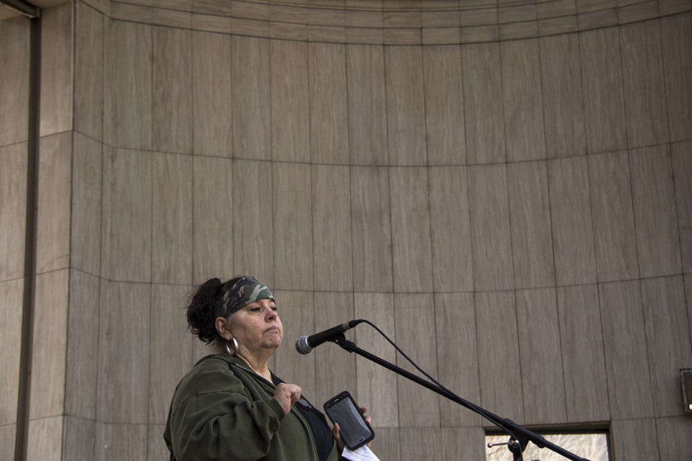 """Darlene """"Smokee"""" Jones speaks at Civic Center Park as part of the """"Impeach Trump Now"""" rally, March 25, 2017. (Kevin J. Beaty/Denverite)  protest; rally; kevinjbeaty; denverite; denver; colorado; civic center park; copolitics;"""