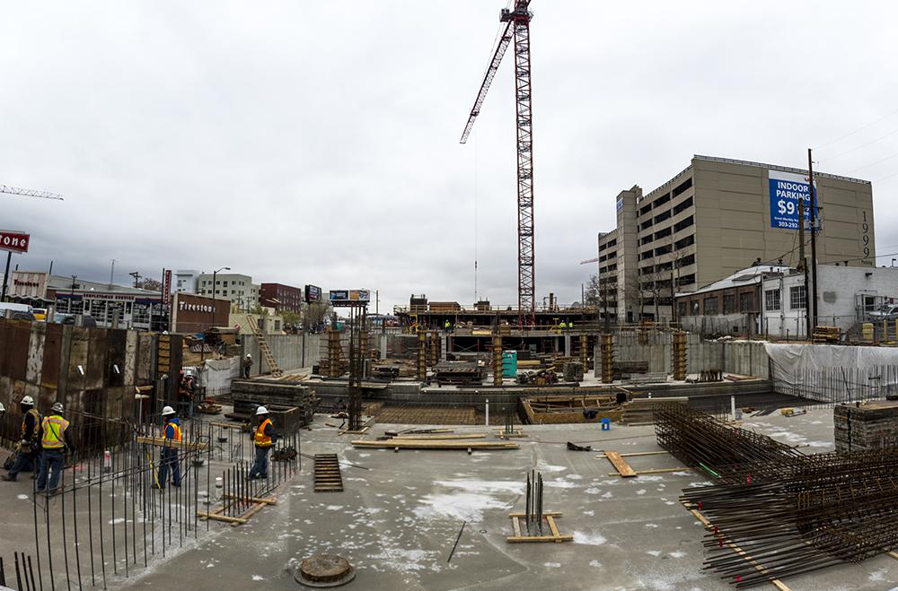 Construction at 2058 California Street. (Kevin J. Beaty/Denverite)  development; construction; five points; arapahoe square; denver; colorado; denverite; kevinjbeaty;
